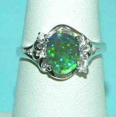 Alternative Engagement Ring Idea:)  Blue Fire Opal Authentic Australian Gemstone Ring by finertimes, $30.45