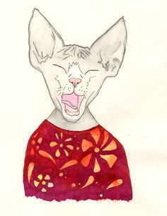Yawning Cat in a Jumper Painting by Sugar Bones on Storenvy
