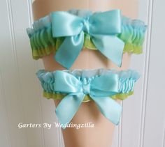 Blue Green Organza #Wedding #Garter Set, Dip Dye Organza #Bridal Garters, Sea Glass Colors, Wedding Garter Belt  Totally unique organza wedding garter set in sea glass colors ... #wedding #bride #bridal #garter #weddings #ido #bridalgarter #weddinggarterbelt ➡️ http://jto.li/kVWn3