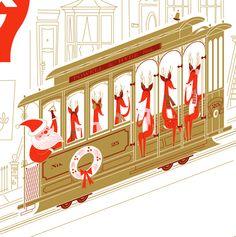 San Francisco Christmas card illustration - Santa & Reindeer on a cable car.