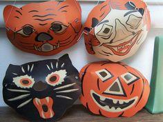 4 Halloween Vintage MASKS 1950 unused old new by PlantDreaming, $105.00