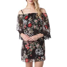 dbe11f6b5 BCX Juniors Textured Cold Shoulder Floral Print Dress with Flared Sleeves  at Von Maur