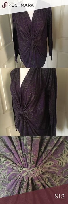 "JMS Just My Size Purple & Gray Top Plus 1X Purple with gray and black flower & vine pattern blouse. Polyester/spandex, very figure flattering with its gathering in the middle. V-neck. Machine washable. Plus size 1X (16W) Measures 16.5"" shoulder to shoulder, 21"" armpit to armpit, 19"" across the middle, 26"" long, and 23.5"" long sleeves  Smoke-free home --- same/next day shipping!  Proceeds go towards help spay/neuter/care of a small colony of community (feral) cats we love. Just My Size Tops"