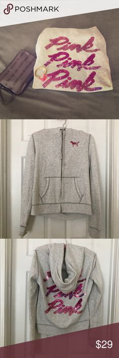 Victoria Secret PINK Sequined Hoodie This super cute super Sequined hoodie is the perfect compliment to your workout outfit. 🚫Trades 🚫PayPal PINK Victoria's Secret Tops Sweatshirts & Hoodies