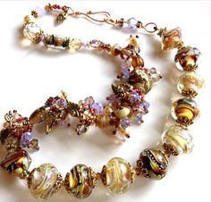 Glass Beads GOLD DUST Large Rounds Lampwork Art for Jewelry Designs