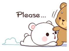 Bear Couple : Milk & Mocha by Shortie sticker Cute Love Pictures, Cute Love Gif, Cute Love Memes, Cute Cat Gif, Cute Bear Drawings, Cute Cartoon Drawings, Cute Kawaii Drawings, Cute Couple Cartoon, Cute Love Cartoons