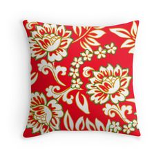 Tropical Eggnog Punch Throw Pillow by PolkaDotStudio, #new #vintage #retro inspired #aloha #Hawaiian #floral #flowers in #holiday #red #green and #gold #art on #home #fashion #accessory throw #pillows, perfect for #bedroom #living room #sun room #apartment #accessorizing, or holiday #gift. Design your space in style!