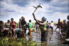 A woman kills a water monitor lizard in Zambia