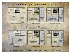 12 Grimmauld Floor Plans (Harry Potter)