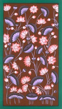 Lotus Painting, Hand Painting Art, Lotus Drawing, Pichwai Paintings, Mughal Paintings, Flower Line Drawings, Art Drawings, Rajasthani Art, Art Deco Fabric