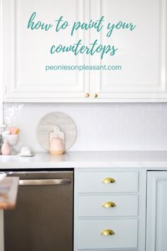 DIY marble painted countertops - peonies on pleasant Countertop Paint Kit, Painted Countertops, Marble Painting, Diy Painting, Diy Home Decor Projects, Easy Diy Projects, Kitchen Reno, Diy Kitchen, Painted Trays
