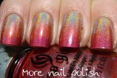 More Nail Polish: Pink holo gradient