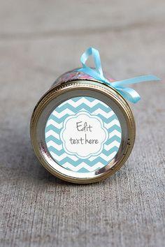 Printable editable chevron label | Blue chevron mason jar label | Customizable gift tag