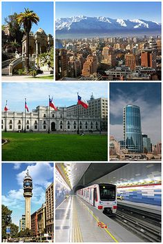 Costanera Center, currently the tallest building in Latin America;A Santiago Metro train; La Moneda palace in celebration of the bicentennial of Chile South America Destinations, South America Travel, Places To Travel, Places To See, Chili, Wonders Of The World, Beautiful Places, Around The Worlds, Cities