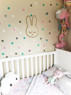 Sleepy bunny & coloured dot decals! Need wall decals? Search Scarlett's Room on Insta & Facebook!