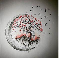 Tree Tattoo - Moon Tree of Life - Drawings - . - Tree Tattoo – Moon Tree of Life – Drawings – … – – - Tree Tattoo Designs, Tattoo Design Drawings, Tattoo Sketches, Art Sketches, Drawings Of Tattoos, Drawings Of Trees, Mini Tattoos, Flower Tattoos, Nature Tattoos