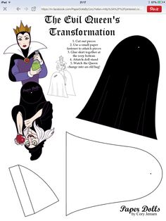 The evil Queen transformation doll. This is patterned after a toy from a Happy Meal. Paper Puppets, Paper Toys, Disney Mural, School Age Activities, Snow White Evil Queen, Halloween Paper Crafts, Halloween Ideas, Disney Decendants, Girls Tea Party