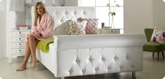 Double Diamond sleigh leather bed frame, white black cream All size Cheap Beds For Sale, Leather Bed Frame, Stylish Beds, Sleigh Beds, Pink Room, White Bedding, New Room, Love Seat, Bedroom Decor