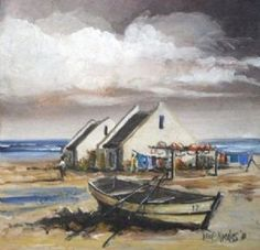 Cape fisherman's house painting - Google Search Boat Painting, Fabric Painting, House Painting, Landscape Art, Landscape Paintings, Landscapes, Africa Drawing, Fishermans Cottage, Artistic Tile
