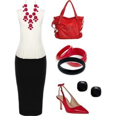 red & black business casual