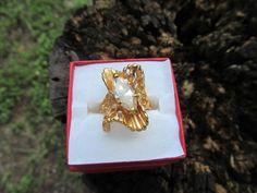 Crystal modernist ring 18k GE size 9.25 vintage 1980 #J #Cocktail