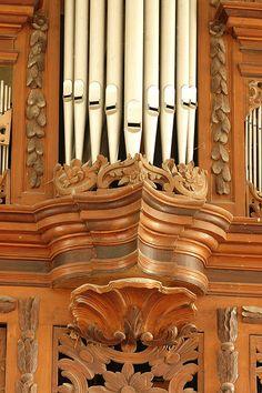 Beautiful detail of organ in church in Neindorf, Sachsen-Anhalt, Germany.  Organ built in 1777-8 by Johann Christoph Wiedemann.