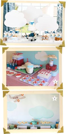Haz clic AQUI para ver preciosos ejemplos de una fiesta aviones, de blog.fiestafacil.com / Click HERE to see lovely examples of an airplane party, from blog.fiestafacil.com