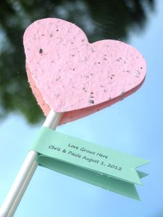 25 Plantable paper heart shower favors- choose from a variety of colors
