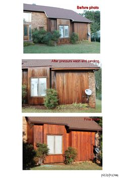 combined photo before and after of cedar restoration house