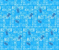 Personalised Name Fabric -  Blue Robots fabric by shelleymade on Spoonflower - custom fabric