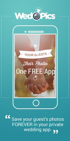 Getting Married? Ditch the disposable cameras, ditch the hashtags (not private) & try WedPics - The #1  Photo & Video App made just for YOUR wedding!  It's FREE.  Relive the entire wedding experience through the eyes of your guests from Engagement Party to Bridal Shower, Rehearsal Dinner to Reception! Available for iPhone, Android & all digital cameras!