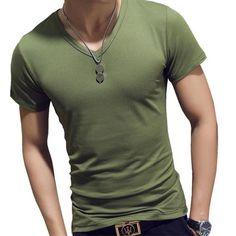 2018 Brand Pure Black Mens T-Shirt Cotton Short Sleeved V-Neck Menetic – eticdress