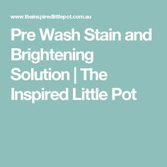 Pre Wash Stain and Brightening Solution | The Inspired Little Pot