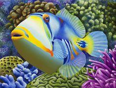 Art cards notecards pack of 5 blank inside tropical Underwater Creatures, Ocean Creatures, Beautiful Sea Creatures, Salt Water Fish, Beautiful Fish, Exotic Fish, Tropical Art, Colorful Fish, Fish Art