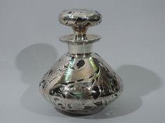 Art Nouveau Silver Overlay Perfume Bottle C 1900