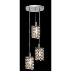 Mini Ellipse Chrome Three-Light Mini Pendant with Royal Cut Golden Teak Smoky and Clear Crystal and Round Canopy