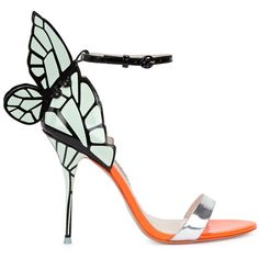 Womens High-Heel Sandals Sophia Webster Chiara Butterfly-embellished... ($635) ❤ liked on Polyvore featuring shoes, sandals, leather strappy sandals, black high heel sandals, high heel sandals, orange sandals and metallic sandals