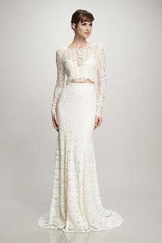 Ada - #890253 - Corded lace crop top with long sleeves. Shown here with the Ines skirt (890244).