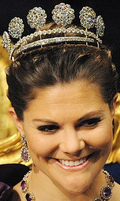 Six Button Diamond Tiara worn by HRH Victoria, the Crown Princess of Sweden