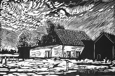 Robert Patierno. Belgian Farm. Woodcut. Edition of 10. 12 x 18 inches. $250