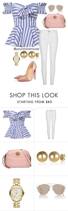 """Afternoon lunch"" by nicolemorris87 on Polyvore featuring Caroline Constas, River Island, Gucci, Kate Spade, Christian Dior and Christian Louboutin"
