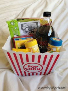 Movie Gift Basket #readysetlove I included movie tickets in mine, my daughter loved in and assorted movie candy and popcorn