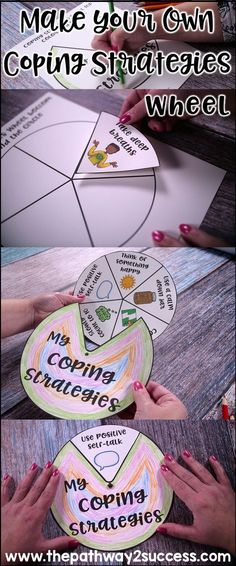 Make a coping strategies wheel with skills to help manage emotions. Kids make their own individualized wheels for activities like positive thinking, breathing, listening to music, yoga, and more. Great activity for counseling or small groups. by oldrose Counseling Activities, Art Therapy Activities, School Counseling, Autism Activities, Coping Skills Activities, Health Activities, Children Activities, Time Activities, Group Activities For Adults