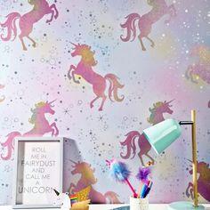 Coloroll Be Dazzled Dancing Unicorn Rainbow Glitter Wallpaper -