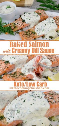 Baked Salmon with Creamy Dill Sauce - Keto and Low Carb - Entrees - .- Gebackener Lachs mit cremiger Dillsauce – Keto und Low Carb – Entrees – … Baked salmon with creamy dill sauce – keto and low … - Keto Foods, Salmón Keto, Low Carb Keto, Ketogenic Foods, Dill Recipes, Baked Salmon Recipes, Seafood Recipes, Cooking Recipes, Healthy Recipes
