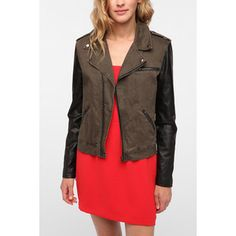 fall shopping list - leather sleeved moto jacket