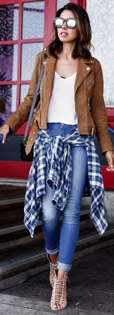Biker Suede jacket, plaid shirt, blue jean, nude heels sandals.