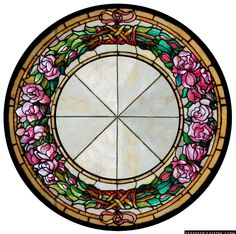 """""""Floral Rose Wreath"""" Stained Glass Window"""