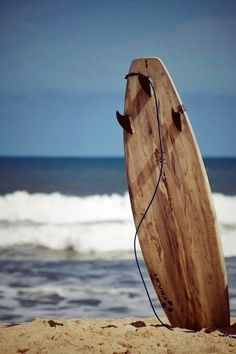 Wooden Surfboard in Sand!