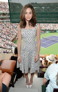 When She Attended a Tennis Match in This Midlength Dress
